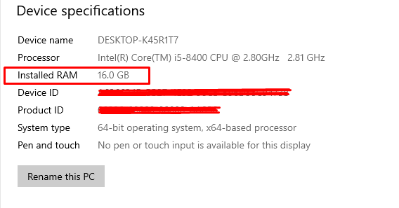 finding your RAM size